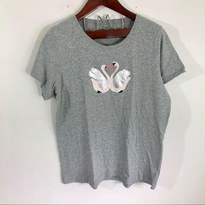 J Crew Collectors Metallic Swan T-shirt Top Xxl
